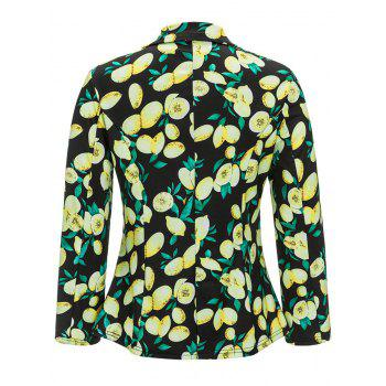 Open Front Shawl Collar Lemon Print Blazer - BLACK BLACK