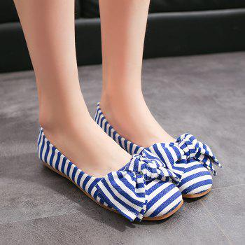 Striped Bow Round Toe Flat Shoes - BLUE/WHITE BLUE/WHITE