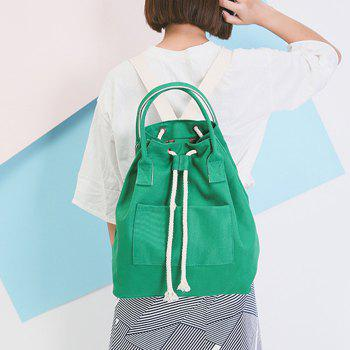 Drawstring Top Handle Canvas Backpack - GREEN