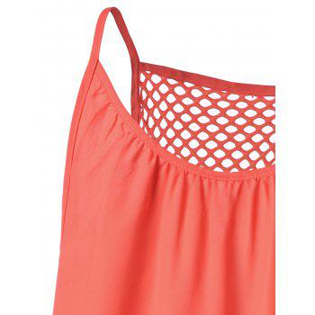 Chiffon Spaghetti Strap Mini Shift Dress - ORANGE RED S
