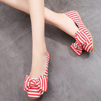 Striped Bow Round Toe Flat Shoes - RED/WHITE 37