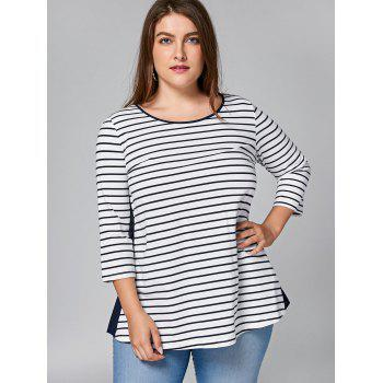 Plus Size Lace Panel Cut Out Striped T-shirt - STRIPE 4XL