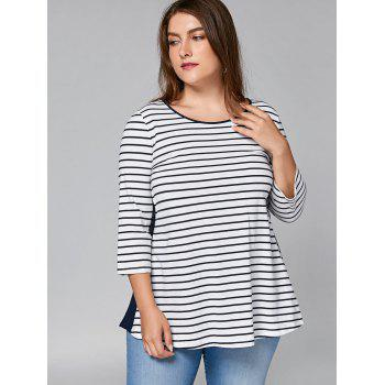 Plus Size Lace Panel Cut Out Striped T-shirt - STRIPE 3XL