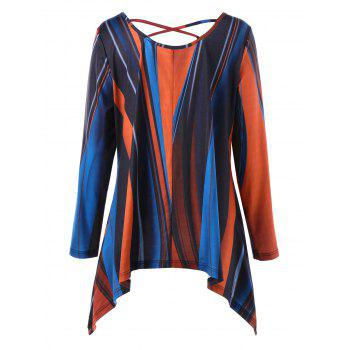 Plus Size Criss Cross Striped Asymmetric T-shirt - COLORMIX XL