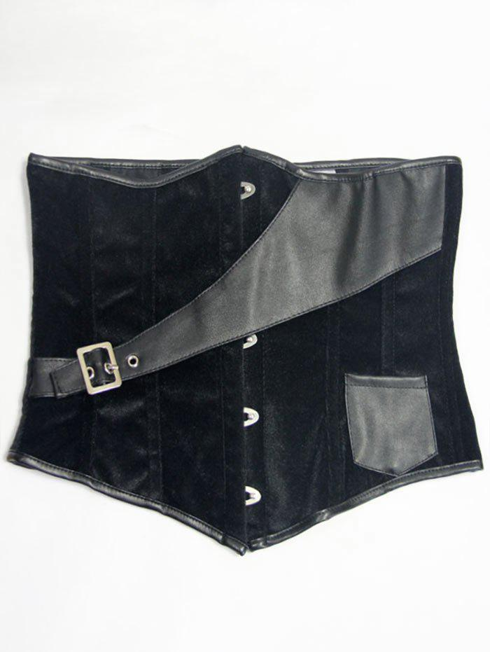Faux Leather Leather Velvet Waist Corset - [
