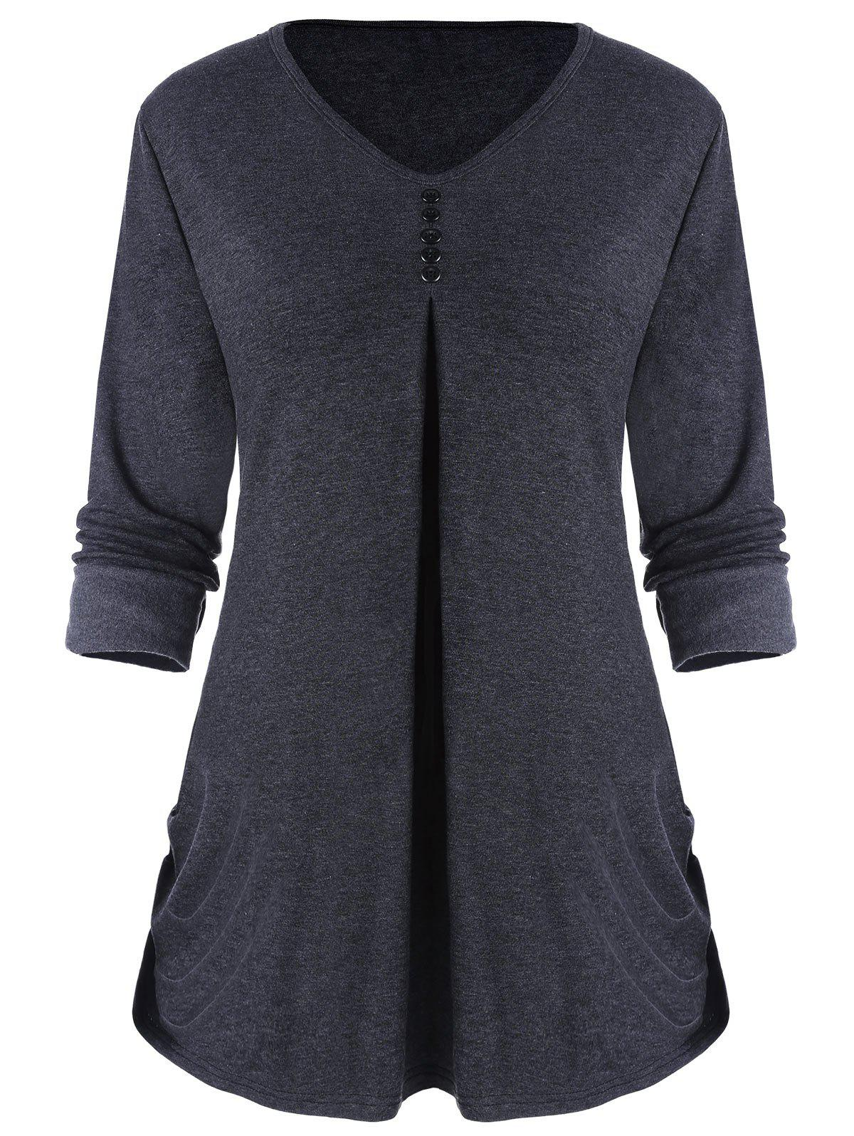 Side Ruched V Neck Top with Buttons - DEEP GRAY 2XL