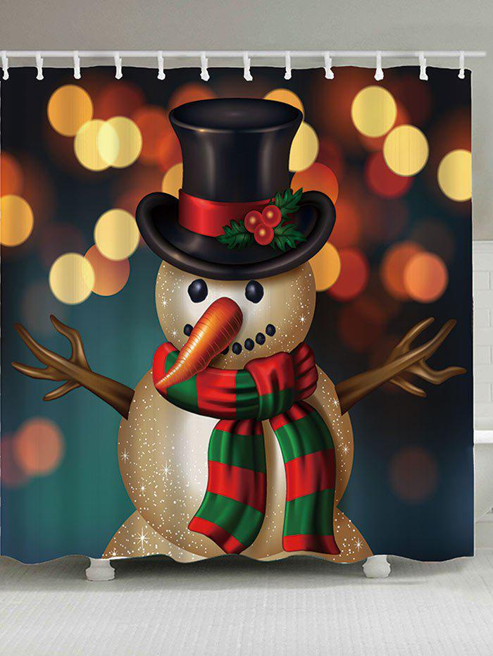Waterproof Christmas Snowman Printed Shower Curtain - COLORFUL W71 INCH * L79 INCH