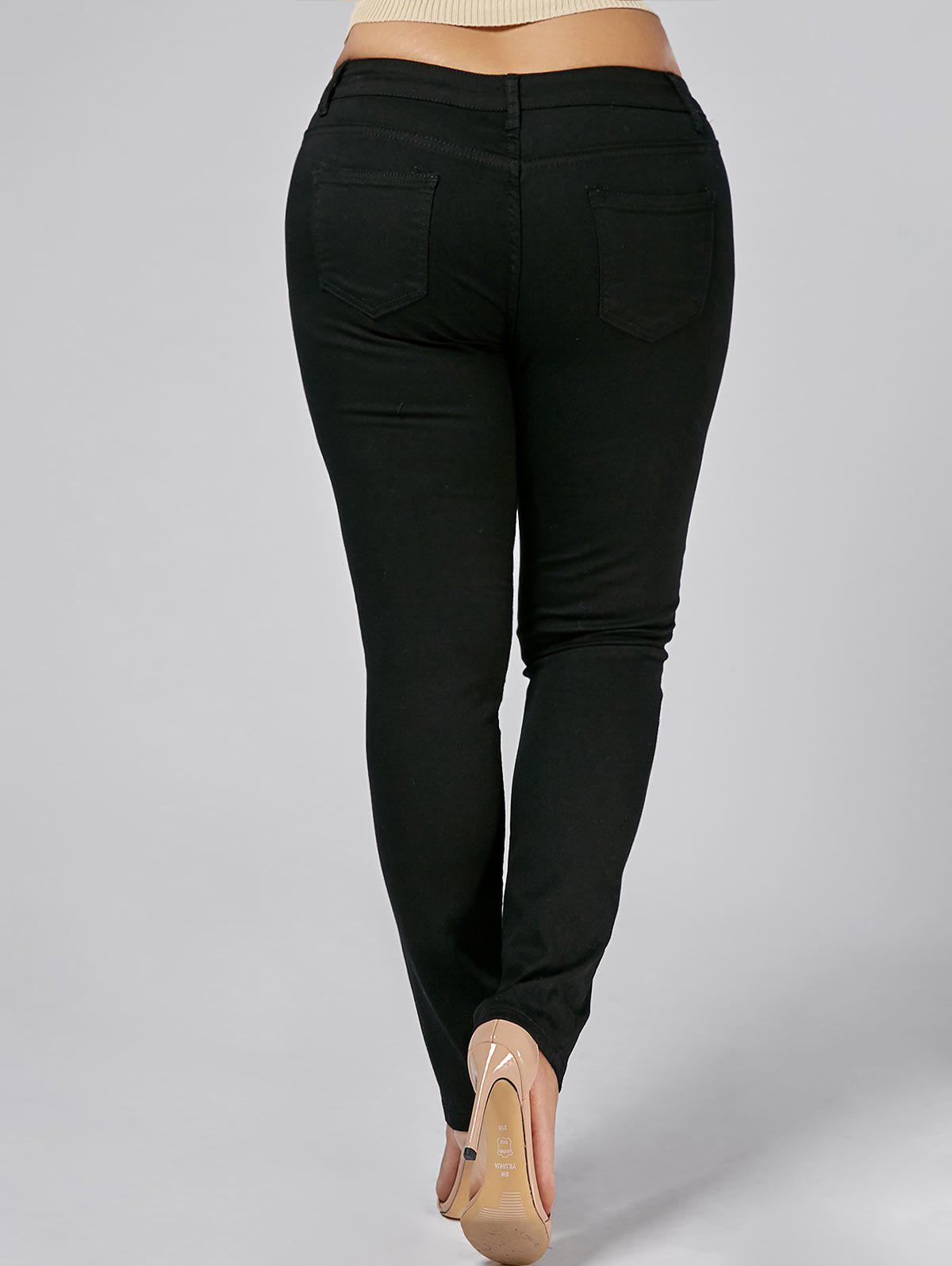 Plus Size Floral Embroidered Tight Jeans - BLACK 3XL