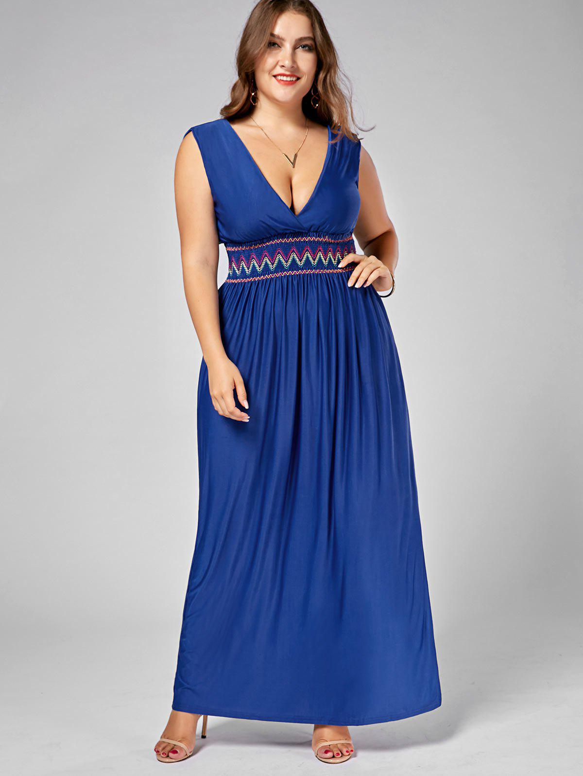 Embroidered Plus Size Plunging Neck Maxi Evening Dress - BLUE 7XL