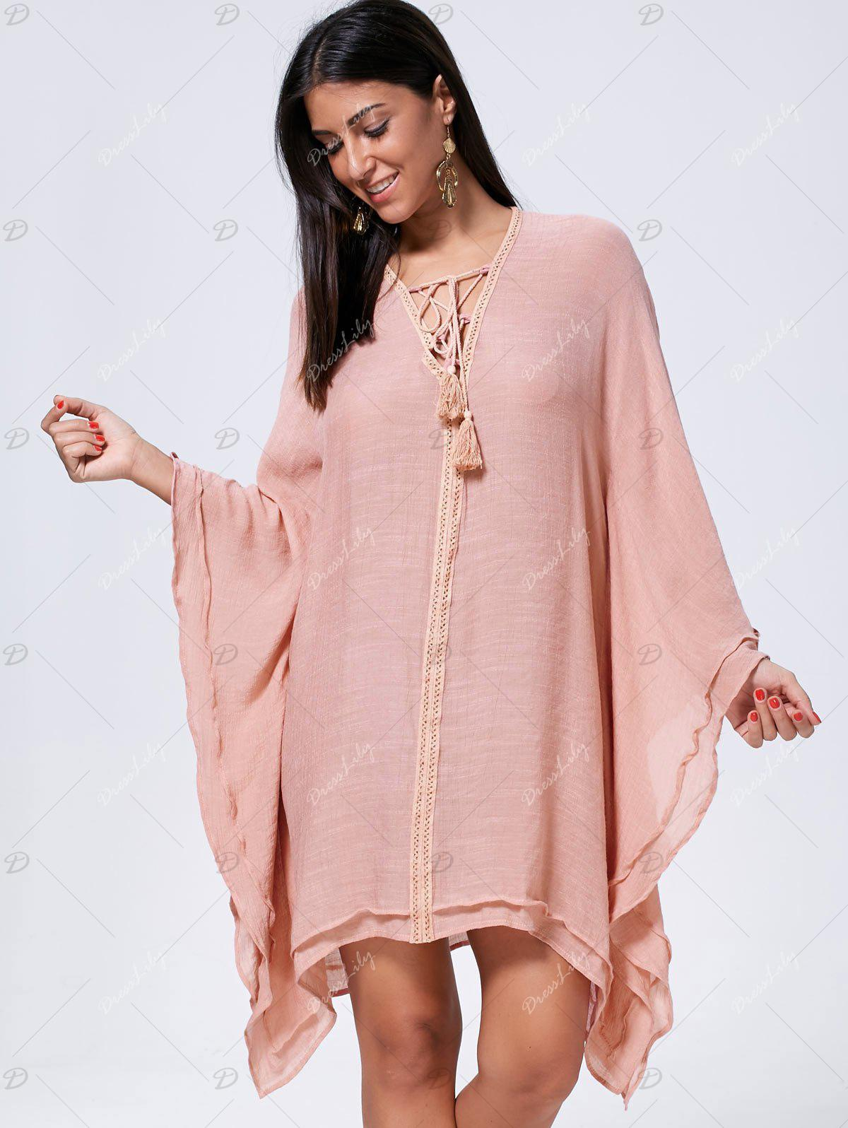 Oversized Batwing Sleeve Lace Up Kaftan Dress - CAMEO M