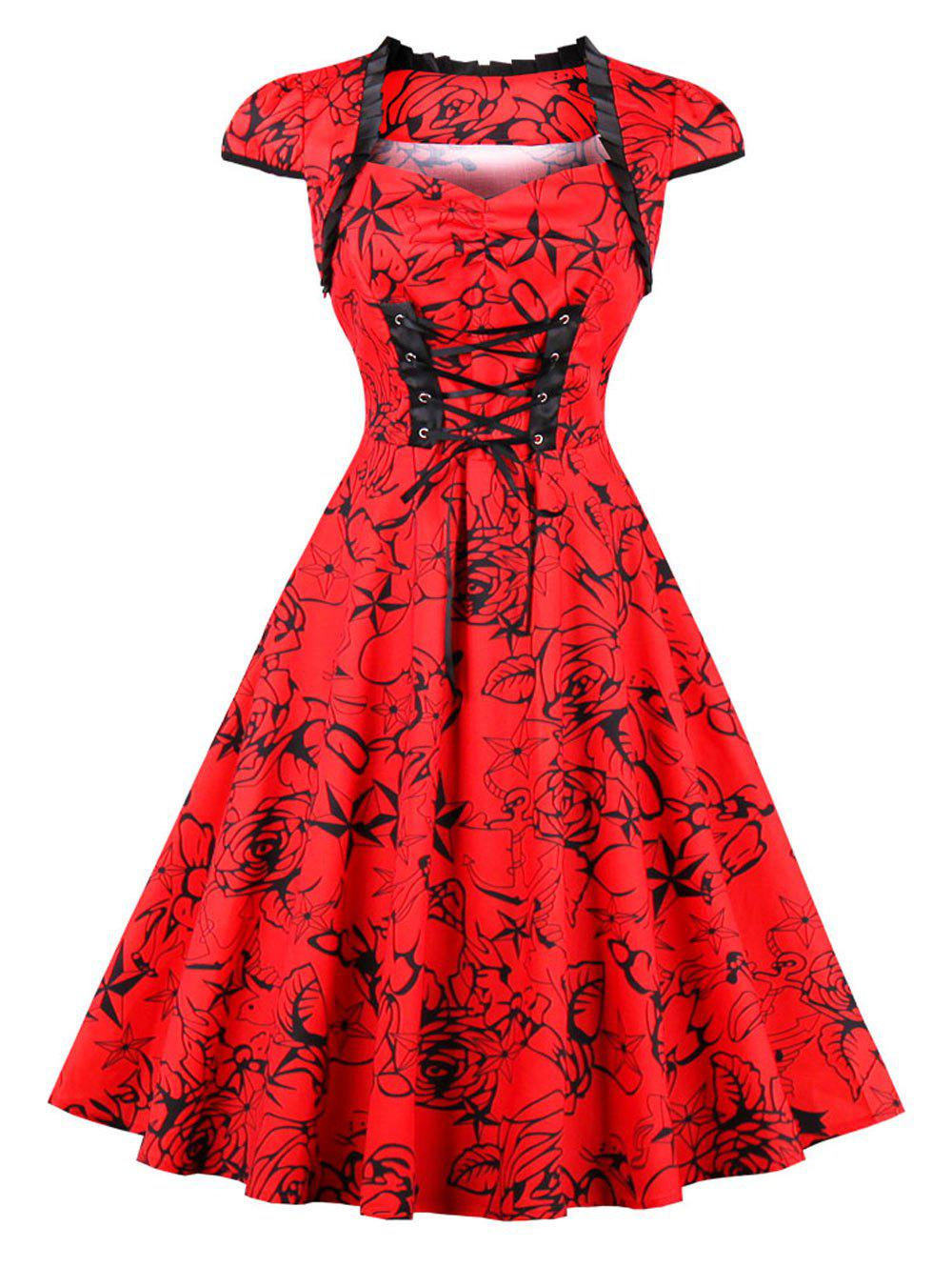 Vintage Lace Up Floral Print Pinup Dress - RED 2XL