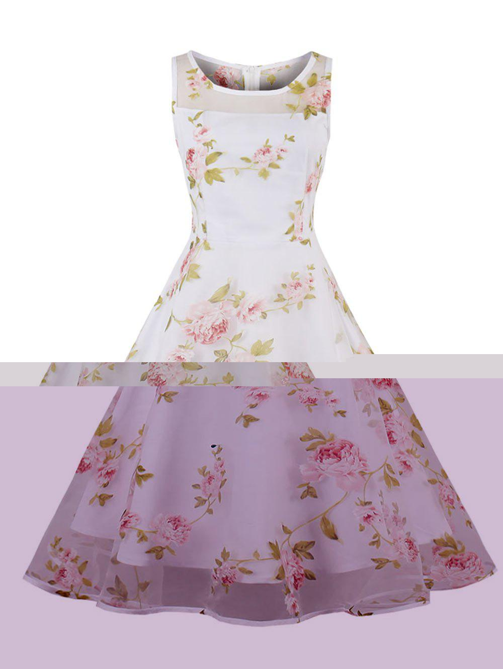 Floral Print Organza Skater Dress - PINK 2XL