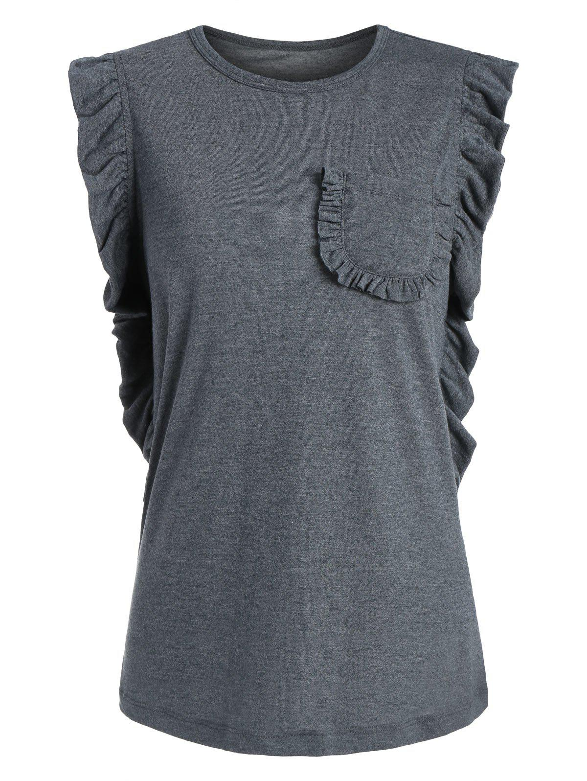 Sleeveless Ruffle T-shirt - GRAY L