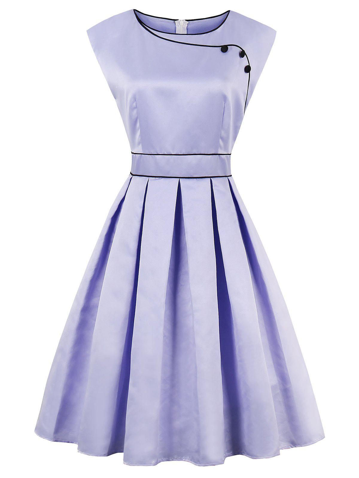 High Waist Sleeveless Faux Satin Vintage Dress - LAVENDER FROST 2XL
