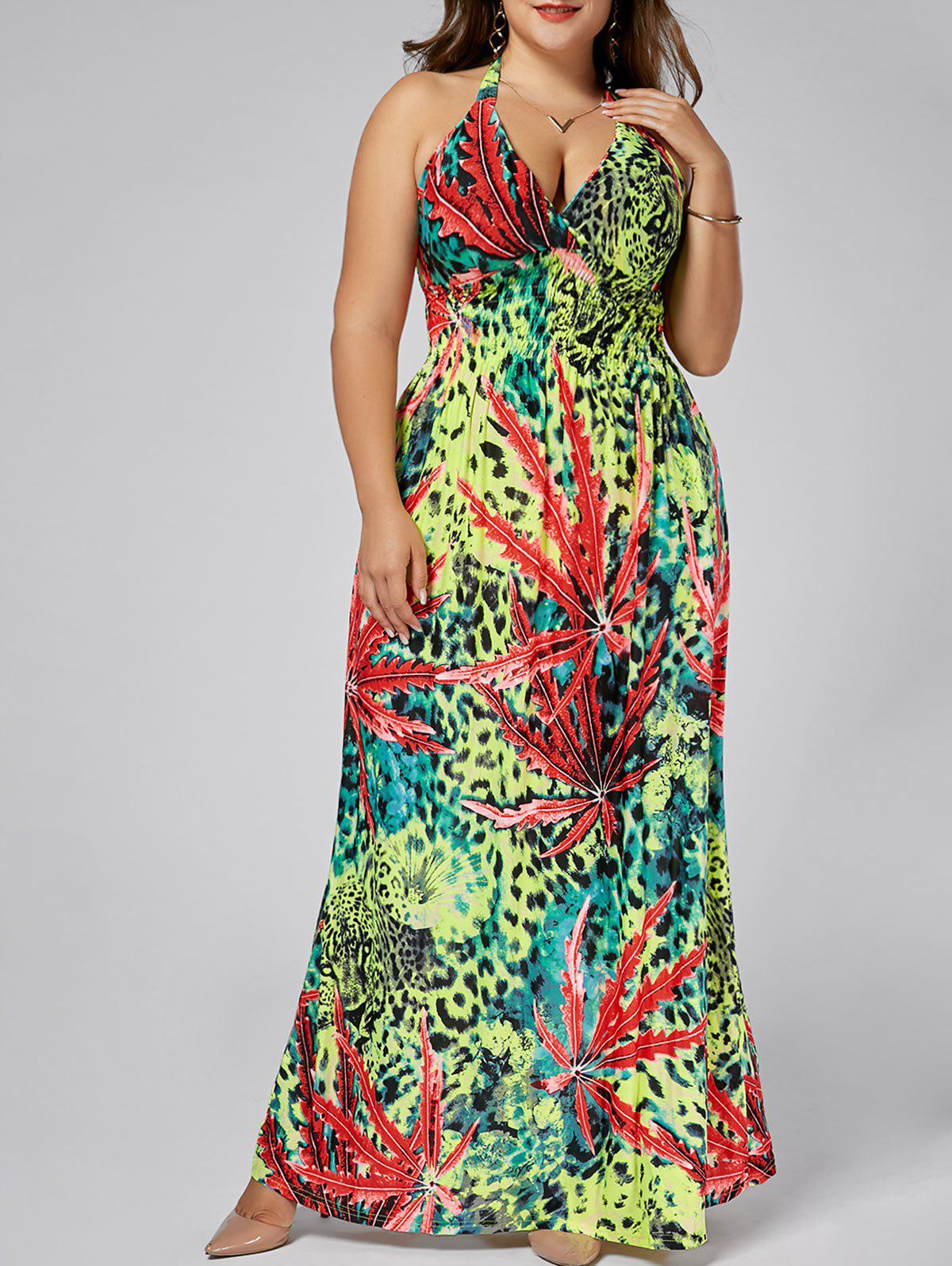 Leopard Plus  Size Halter Plunging Neck Maxi Dress - FLORAL 7XL