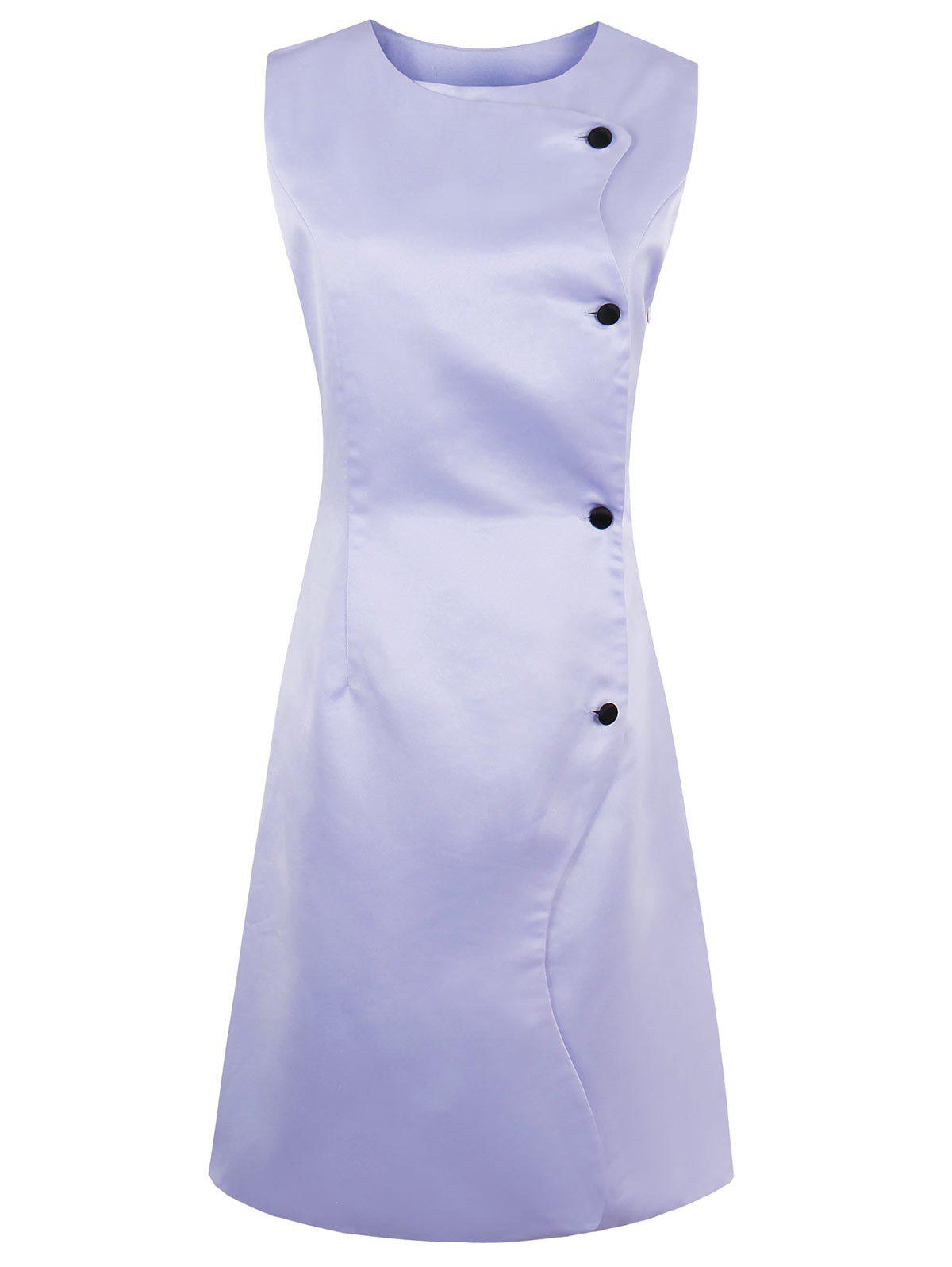 Button Up A Line Sleeveless Dress - LAVENDER FROST 2XL