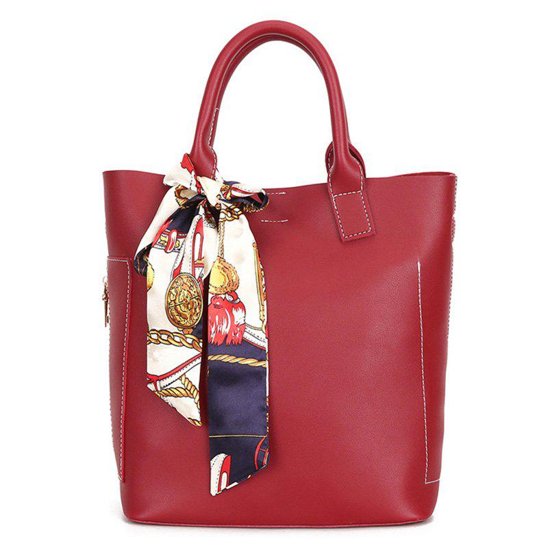 PU Leather Tote Bag Set with Scarf - RED