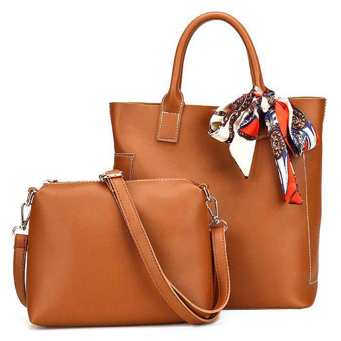 PU Leather Tote Bag Set with Scarf - BROWN