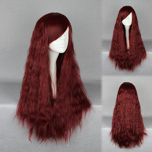 Inclined Bang Long Fluffy Yaki Straight Synthetic Wig - WINE RED