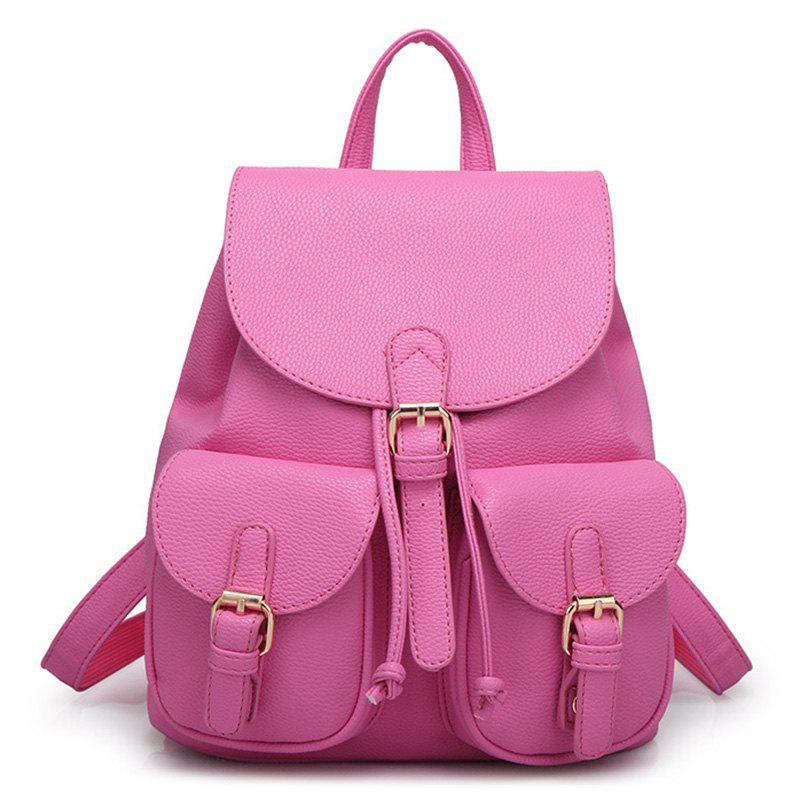 Buckles PU Leather Backpack - ROSE RED