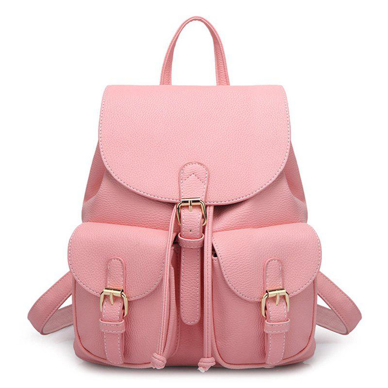 Buckles PU Leather Backpack - PINK