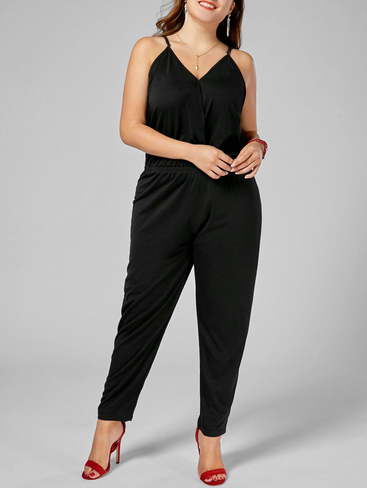 Plus Size Spaghetti Strap Jumpsuit - BLACK 3XL