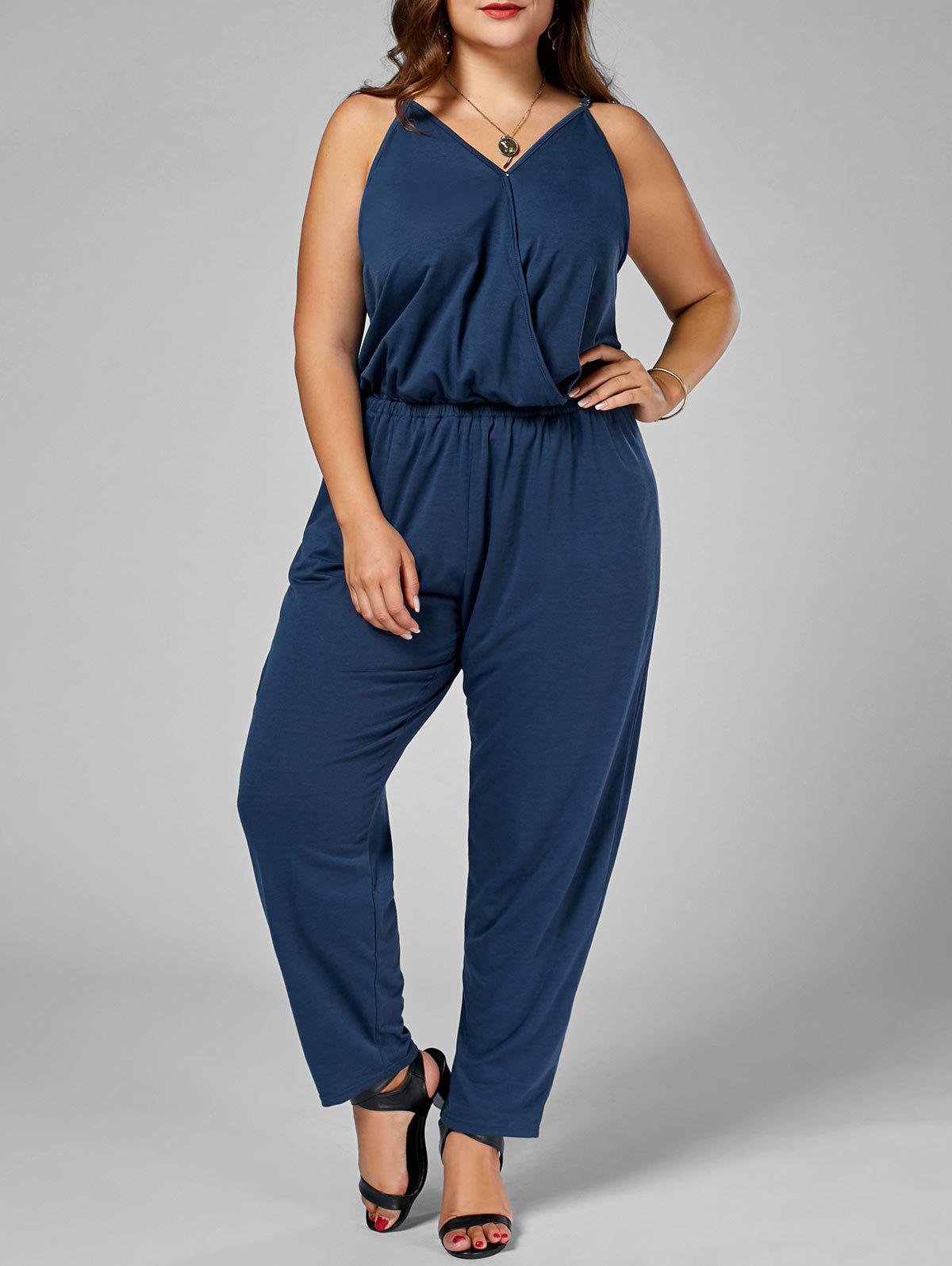 Plus Size Spaghetti Strap Jumpsuit - CADETBLUE 6XL