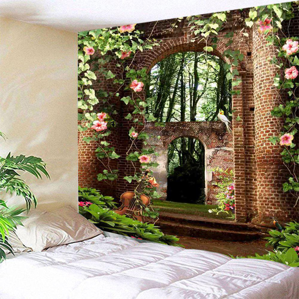 Floral Arched Door Wall Hanging Bedroom Tapestry, COLORMIX