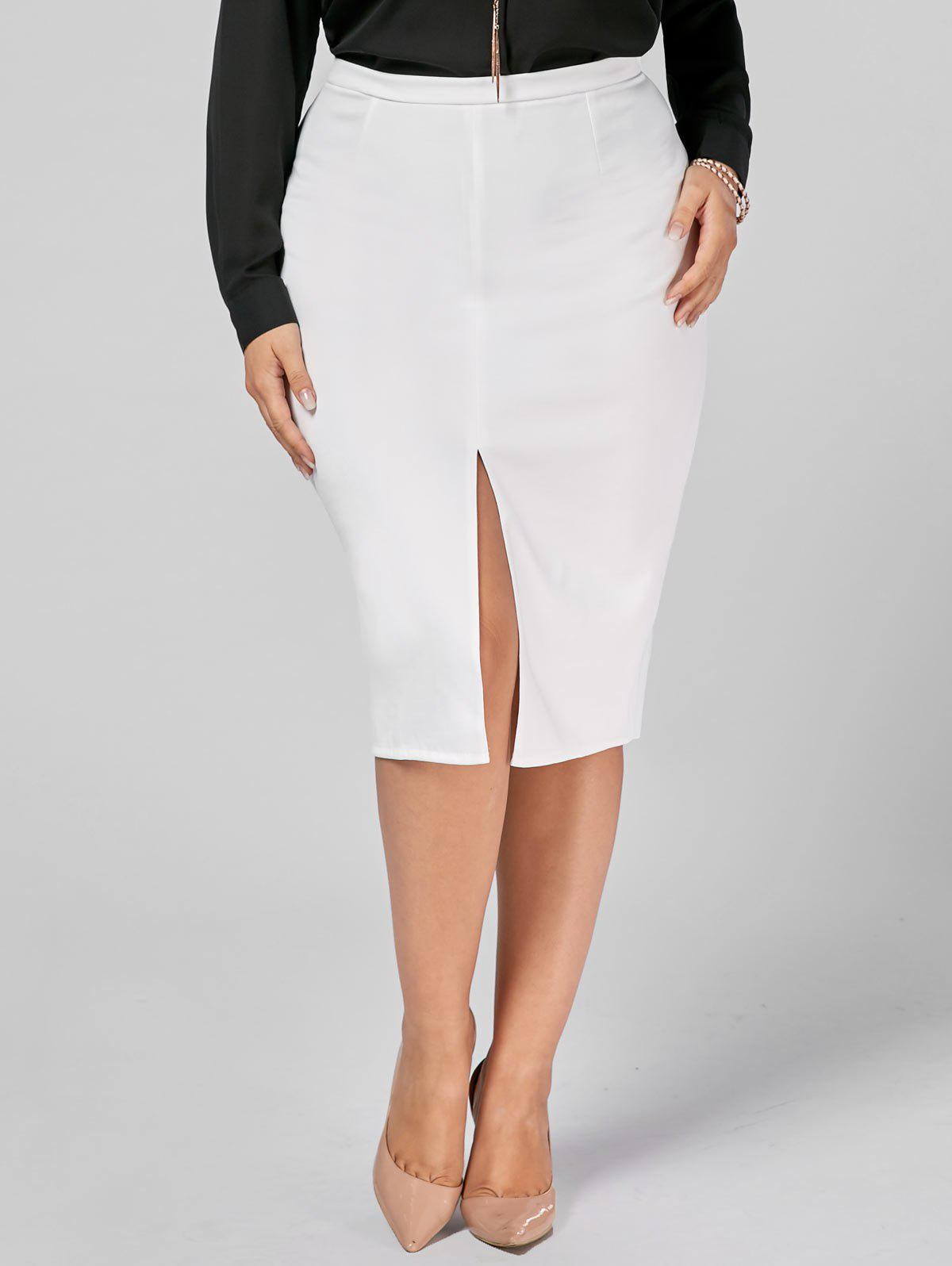 Plus Size Front Slit Zip Up Pencil Skirt - WHITE 4XL