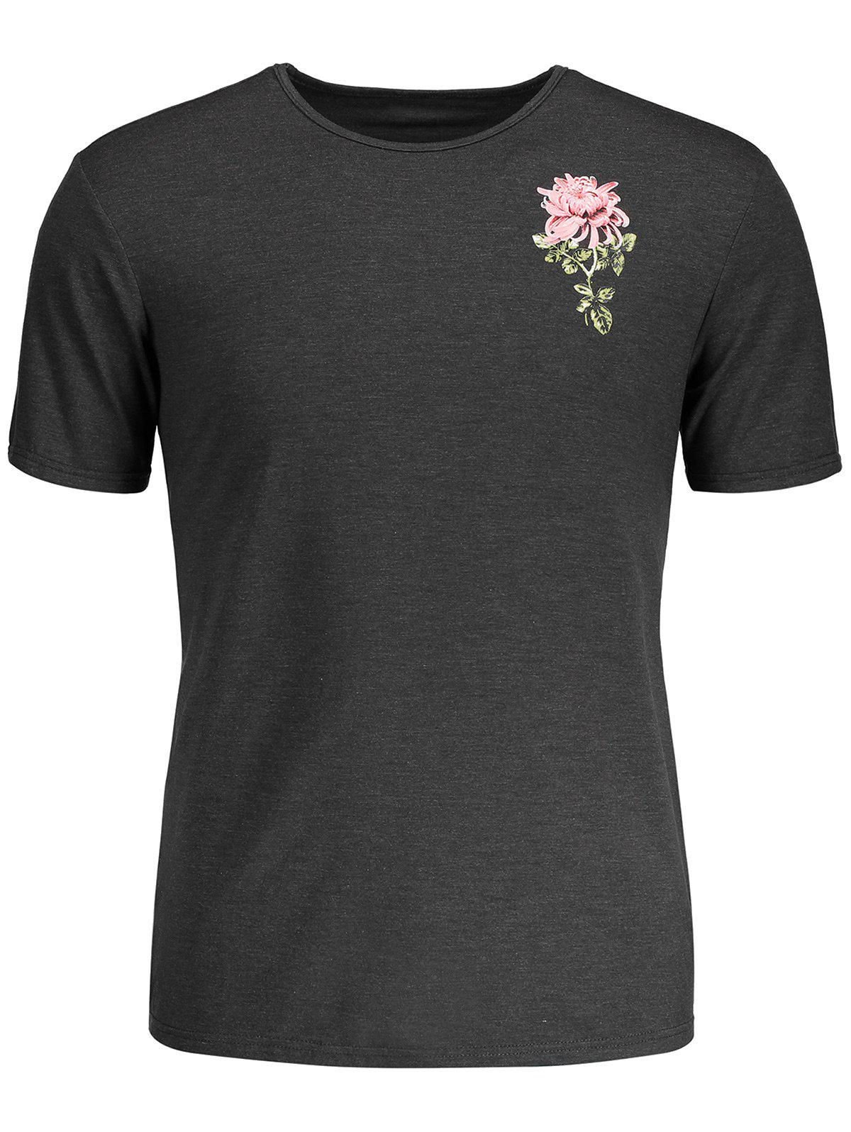 Tropical Flower Print T-shirt - GRAY L