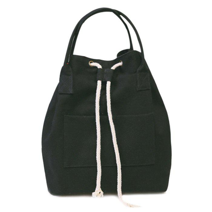 Drawstring Top Handle Canvas Backpack - BLACK