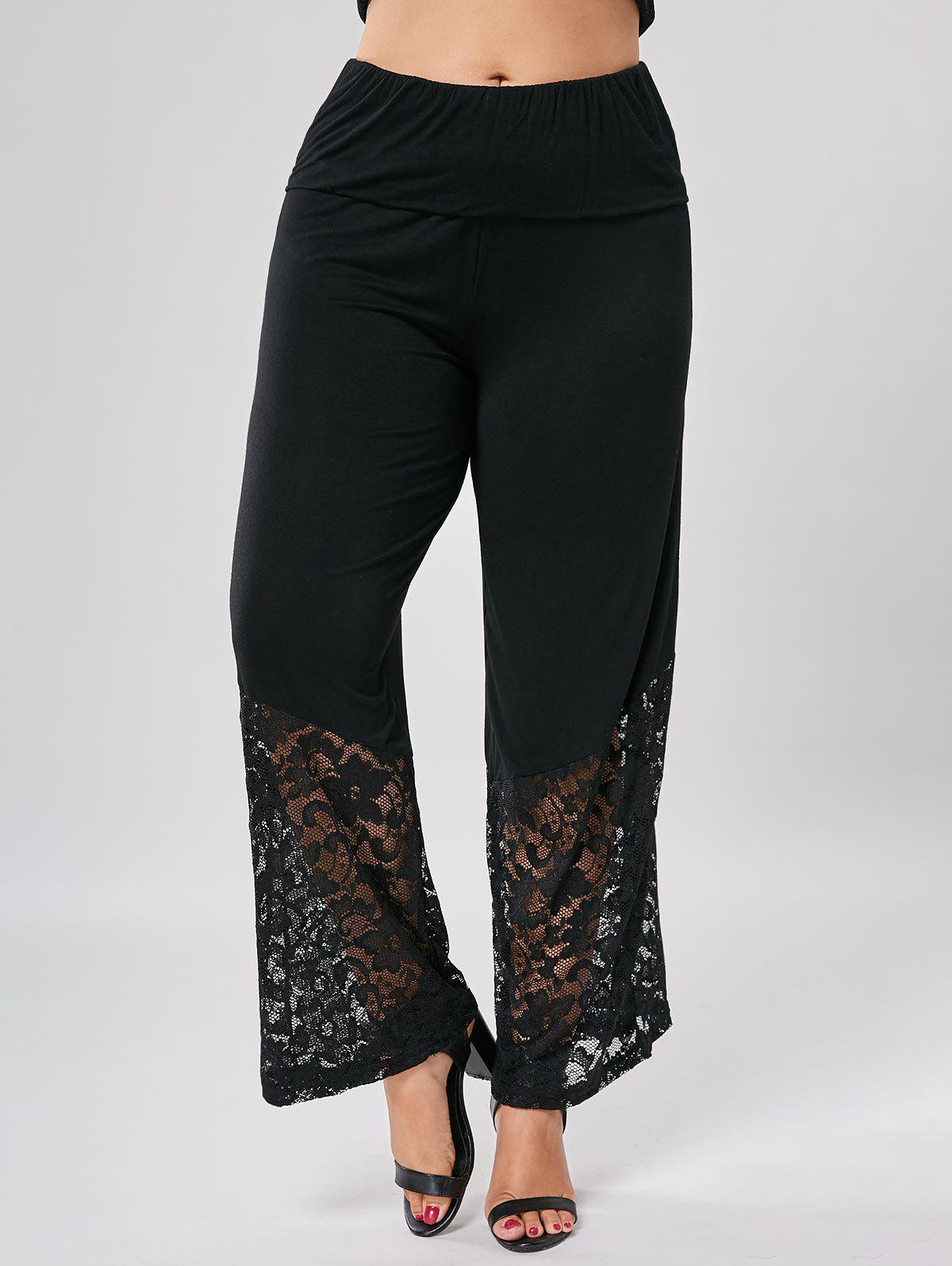 Lace Trim Wide Leg Plus Size Pants - BLACK 2XL