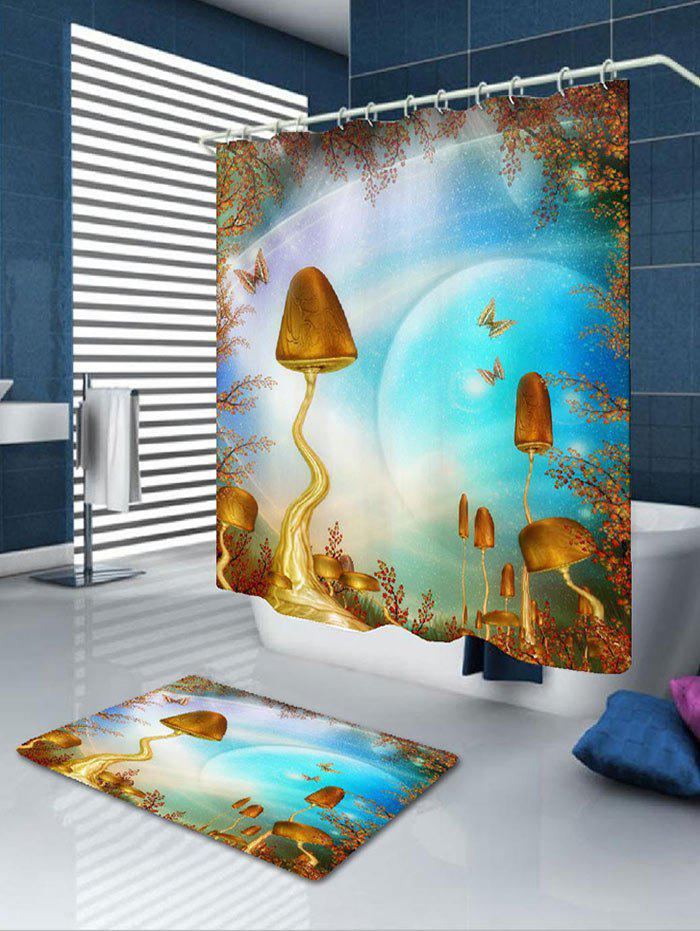 Sky Mushroom Pattern Shower Curtain and Rug flowers butterflies pattern waterproof shower curtain
