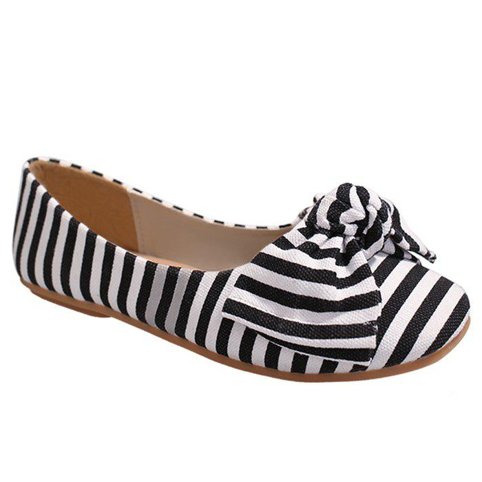 Striped Bow Round Toe Flat Shoes - WHITE/BLACK 37