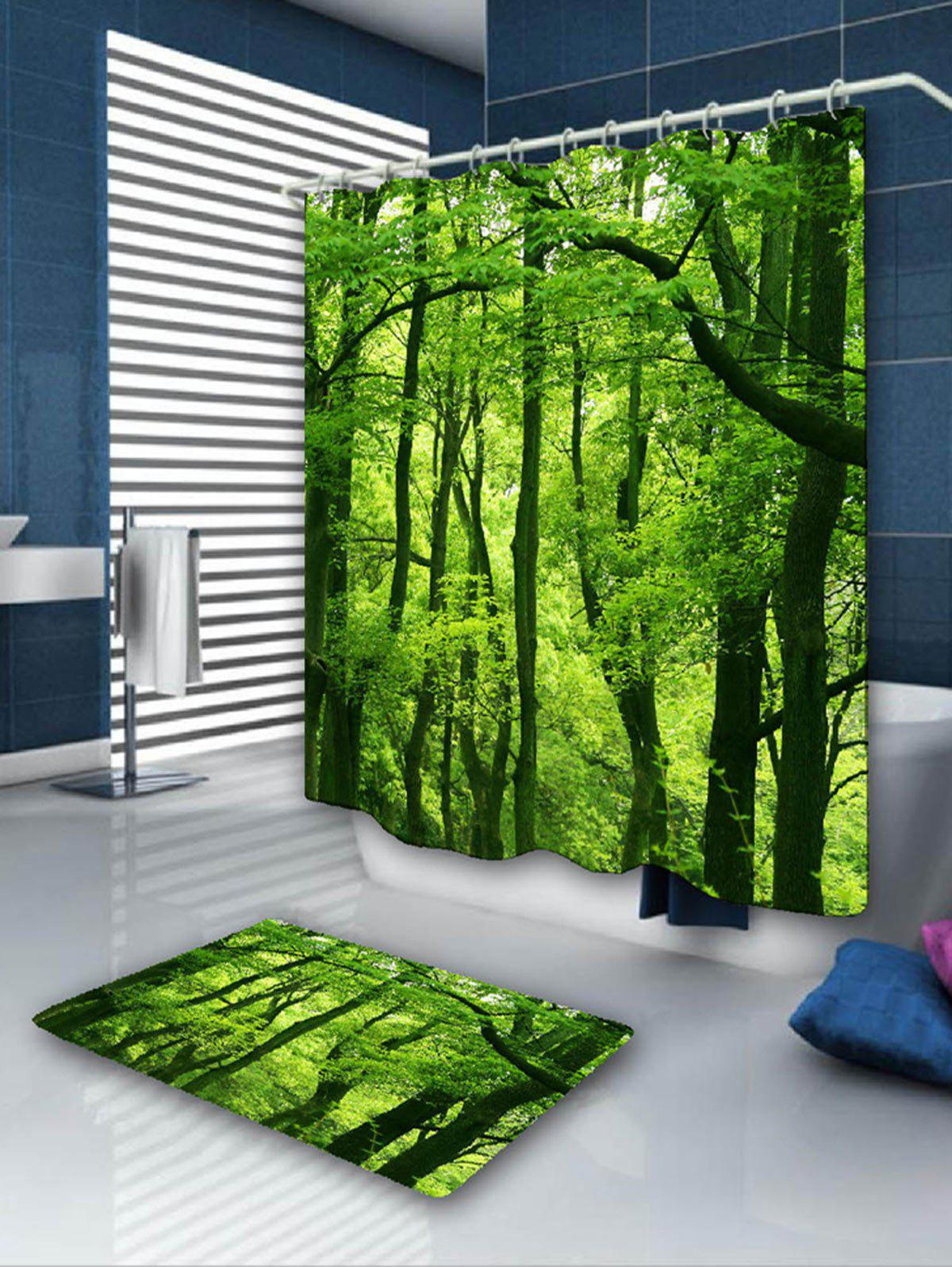 Forest Pattern Shower Curtain and Area Rug flowers butterflies pattern waterproof shower curtain