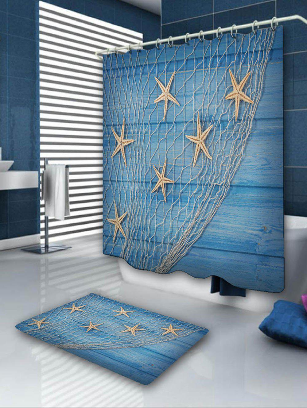 Starfish Fishing Net Bath Curtain and Rug starfish fishing net wood grain nautical shower curtain