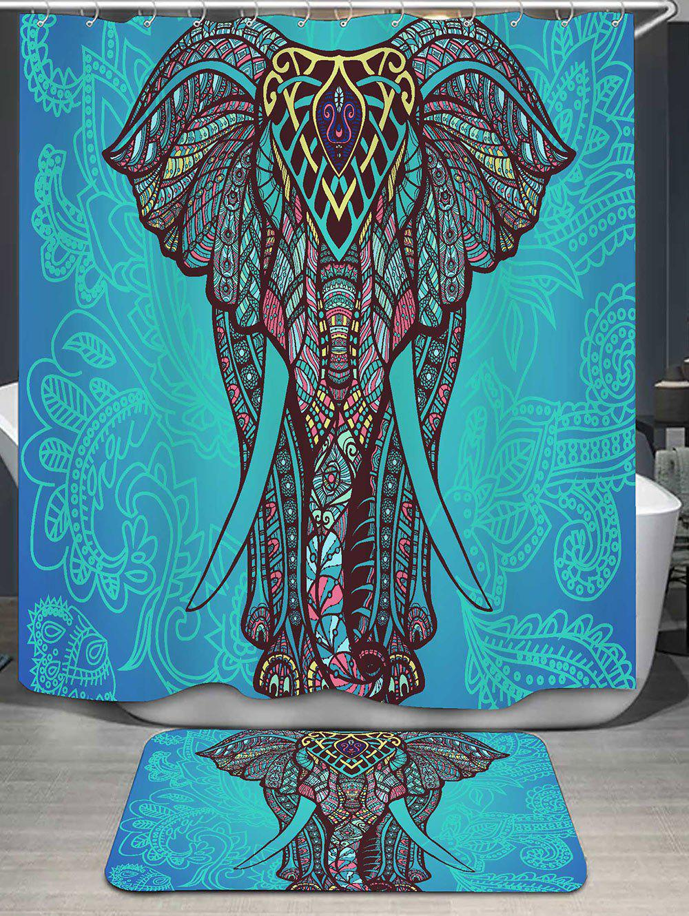 Bohemian Elephant Print Shower Curtain and Rug female silhouette art print shower curtain