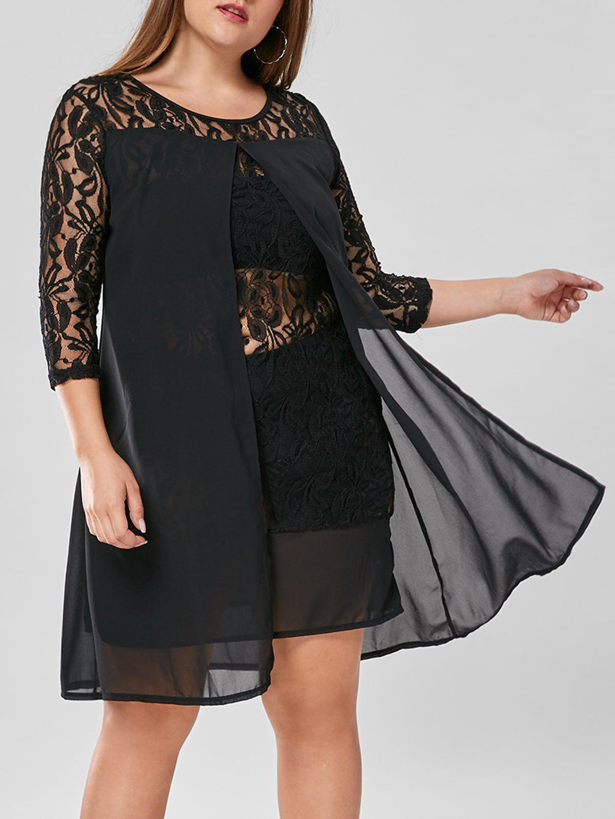 Plus Size Lace Trim Knee Length Dress plus size lace insert knee length dress