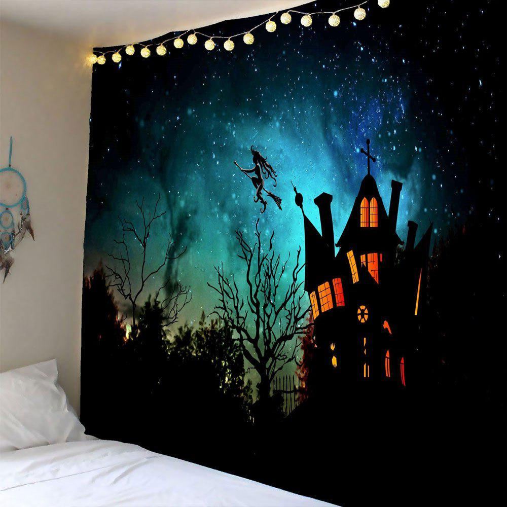 Halloween Witch Printed Waterproof Wall Tapestry - BLACK W79 INCH * L59 INCH