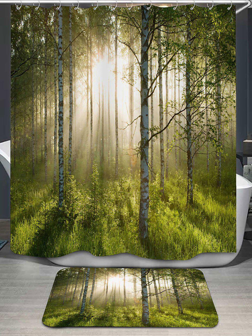 17 Off 2020 Forest Printed Shower Curtain And Bath Rug