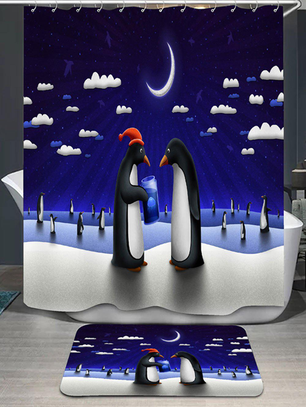 Moonlit Penguin Printed Shower Curtain and Rug