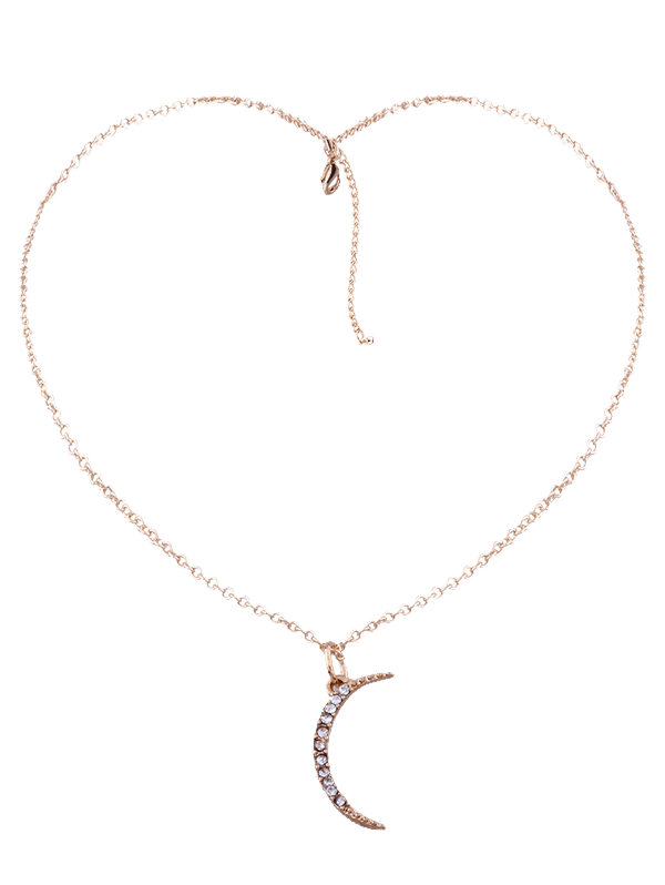 Collier pendentif en strass en lune Collarbone - Or
