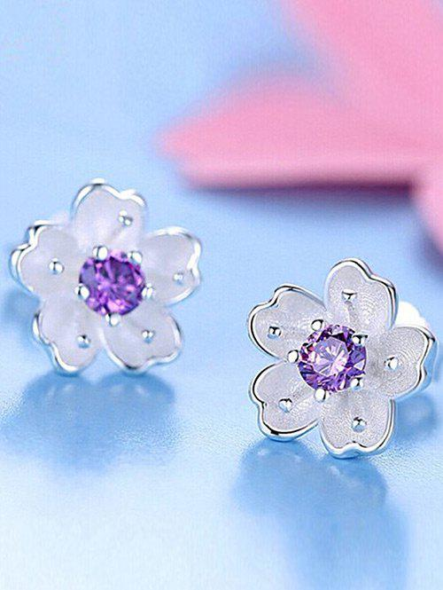 Faux Crystal Floral Earring Jackets - PURPLE