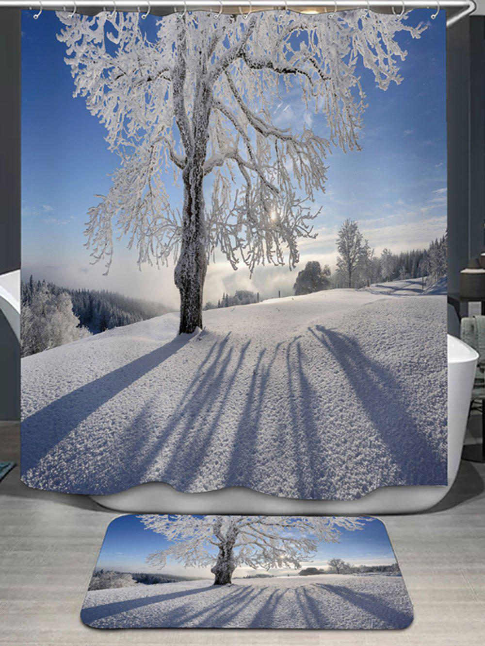Snow Tree Print Shower Curtain And Bath Rug   SNOW SHAPE