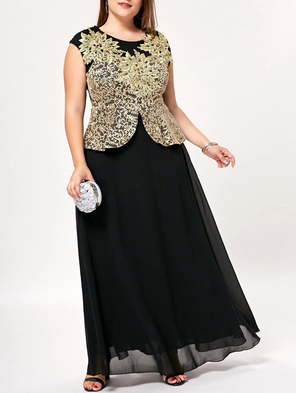 Plus Size Floral Floor Length Peplum Dress - BLACK XL