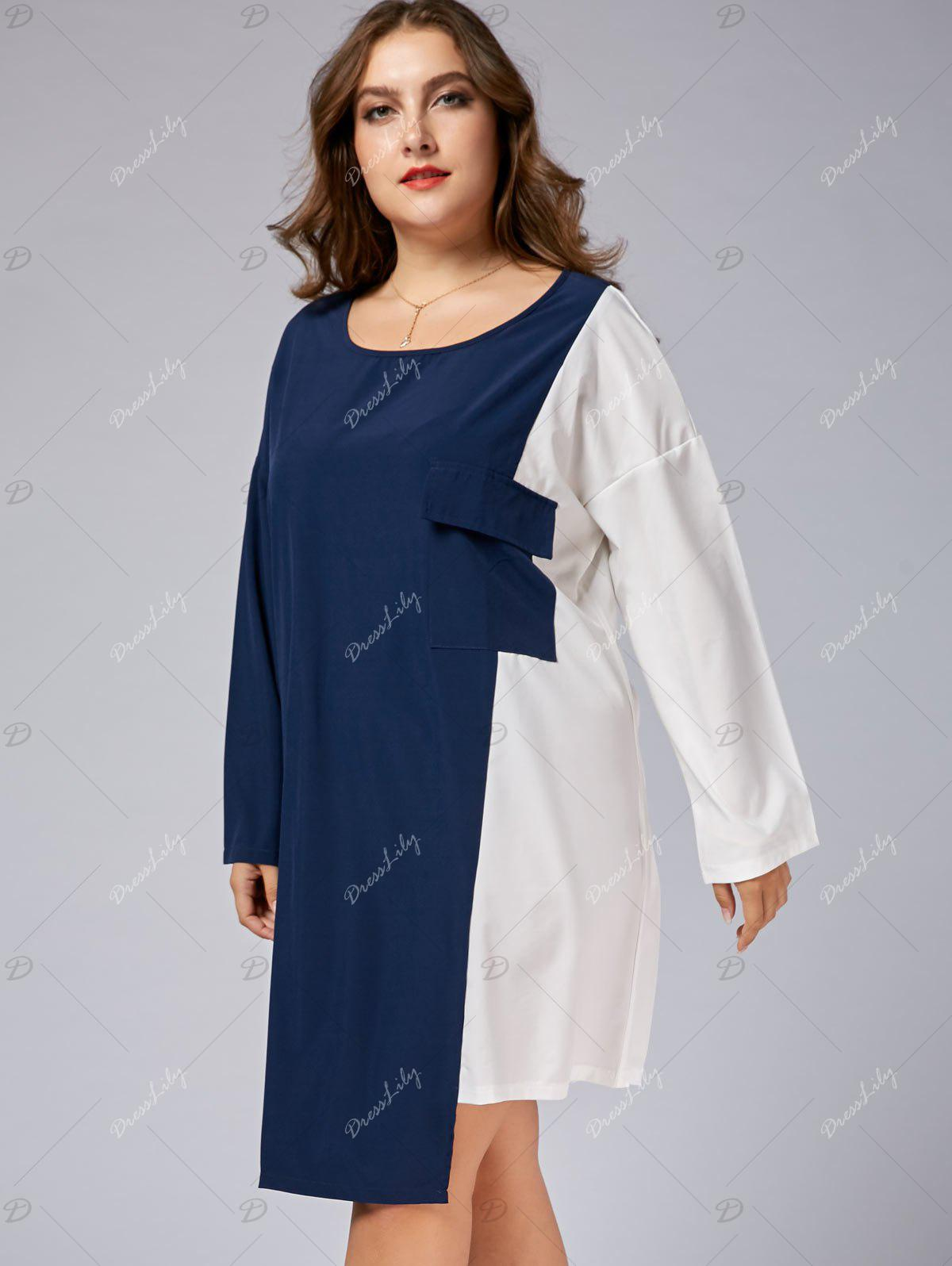 Plus Size Color Block Business Dress with Sleeves - BLUE/WHITE 7XL