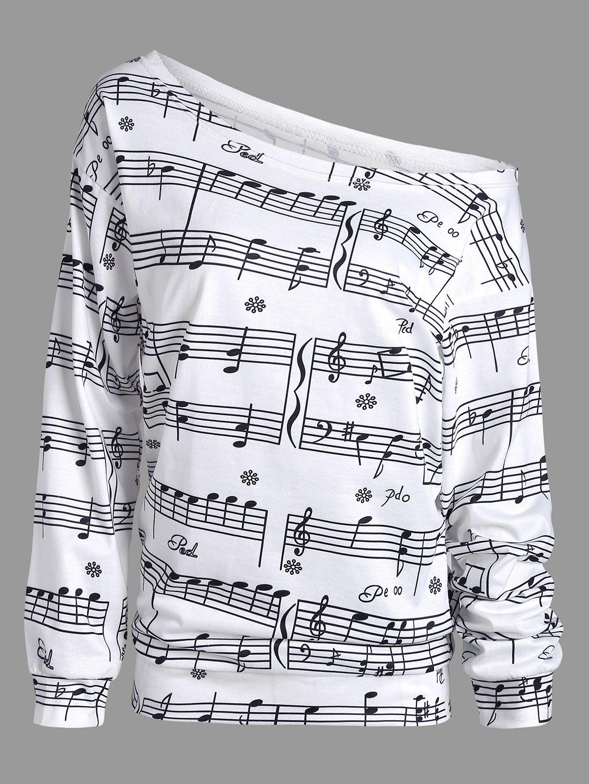 Musical Notes Print Long Sleeve Sweatshirt - WHITE 2XL