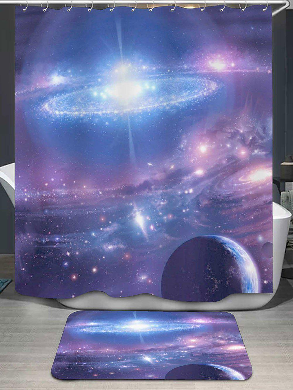 Galaxy Printed Shower Curtain and Rug galaxy printed shower curtain and area rug