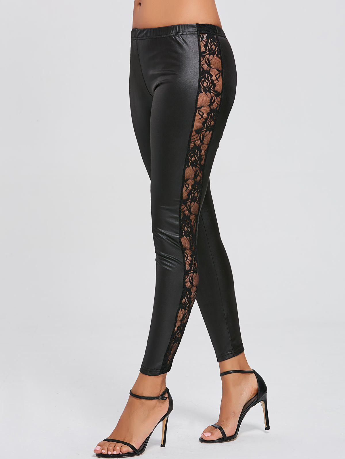 Lace Insert See-through Faux Leather Leggings - BLACK XL