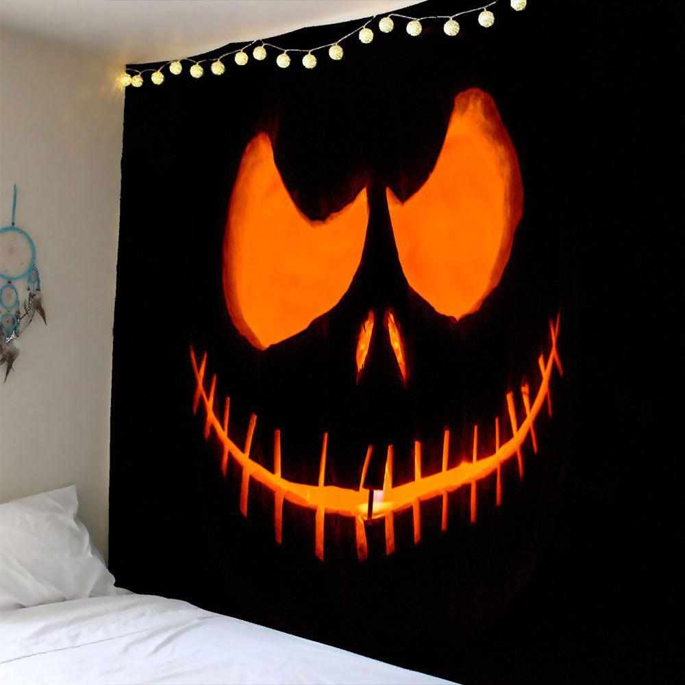 Waterproof Halloween Smiling Face Ghost Wall Tapestry - YELLOW W79 INCH * L59 INCH